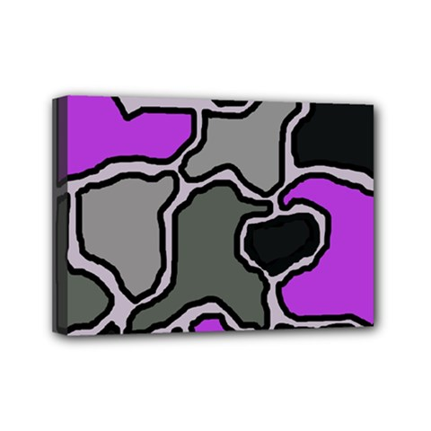 Purple And Gray Abstraction Mini Canvas 7  X 5  by Valentinaart