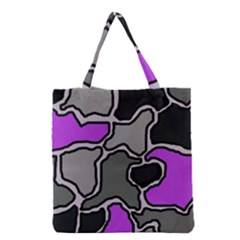Purple And Gray Abstraction Grocery Tote Bag by Valentinaart
