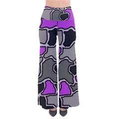 Purple And Gray Abstraction Pants by Valentinaart