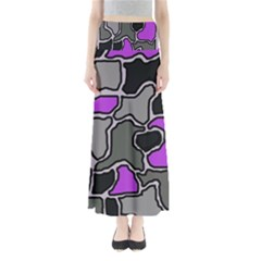 Purple And Gray Abstraction Maxi Skirts by Valentinaart