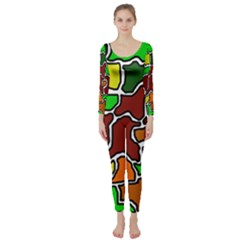 Africa Abstraction Long Sleeve Catsuit by Valentinaart