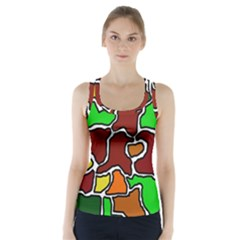 Africa Abstraction Racer Back Sports Top by Valentinaart