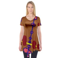 Brown Abstraction Short Sleeve Tunic  by Valentinaart