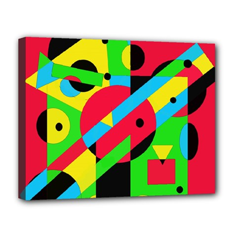 Colorful Geometrical Abstraction Canvas 14  X 11  by Valentinaart