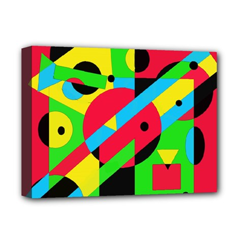 Colorful Geometrical Abstraction Deluxe Canvas 16  X 12   by Valentinaart