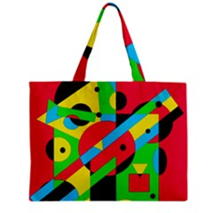 Colorful Geometrical Abstraction Zipper Mini Tote Bag by Valentinaart