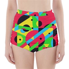 Colorful Geometrical Abstraction High Waisted Bikini Bottoms by Valentinaart