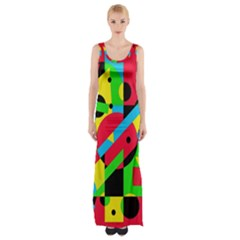 Colorful Geometrical Abstraction Maxi Thigh Split Dress by Valentinaart