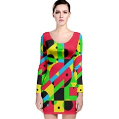 Colorful Geometrical Abstraction Long Sleeve Velvet Bodycon Dress by Valentinaart