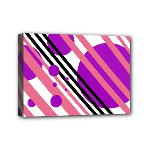 Purple Lines And Circles Mini Canvas 7  X 5  by Valentinaart