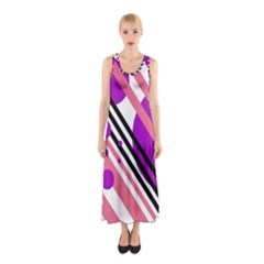 Purple Lines And Circles Sleeveless Maxi Dress by Valentinaart