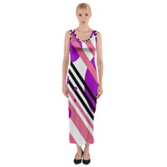 Purple Lines And Circles Fitted Maxi Dress by Valentinaart