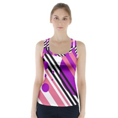 Purple Lines And Circles Racer Back Sports Top by Valentinaart