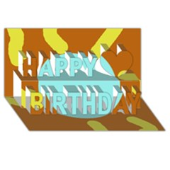 Abstract Sun Happy Birthday 3d Greeting Card (8x4)  by Valentinaart