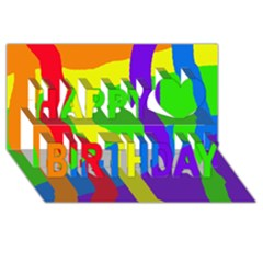 Rainbow Abstraction Happy Birthday 3d Greeting Card (8x4)  by Valentinaart