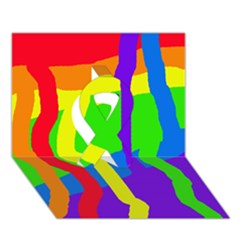 Rainbow Abstraction Ribbon 3d Greeting Card (7x5)  by Valentinaart