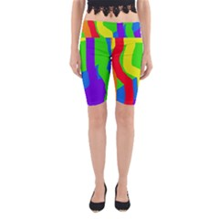 Rainbow Abstraction Yoga Cropped Leggings by Valentinaart