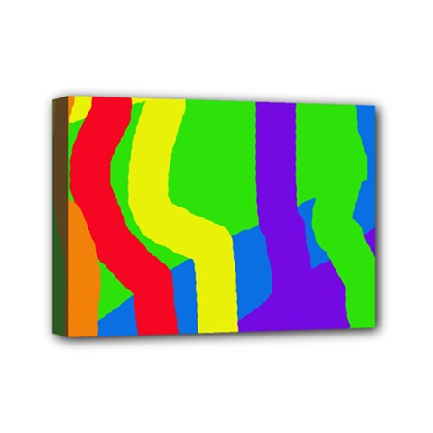 Rainbow Abstraction Mini Canvas 7  X 5  by Valentinaart