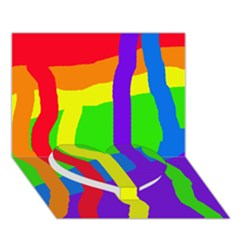 Rainbow Abstraction Heart Bottom 3d Greeting Card (7x5)  by Valentinaart