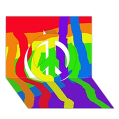 Rainbow Abstraction Peace Sign 3d Greeting Card (7x5)  by Valentinaart