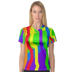 Rainbow Abstraction Women s V Neck Sport Mesh Tee by Valentinaart