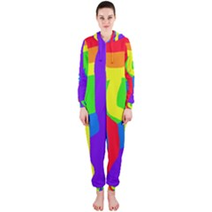 Rainbow Abstraction Hooded Jumpsuit (ladies)  by Valentinaart