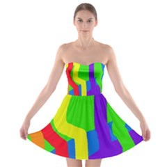 Rainbow Abstraction Strapless Dresses by Valentinaart