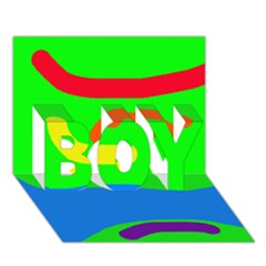 Rainbow Abstraction Boy 3d Greeting Card (7x5)