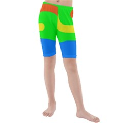 Rainbow Abstraction Kid s Mid Length Swim Shorts by Valentinaart