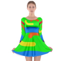 Rainbow Abstraction Long Sleeve Skater Dress by Valentinaart