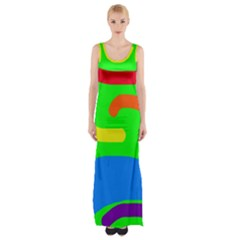 Rainbow Abstraction Maxi Thigh Split Dress by Valentinaart