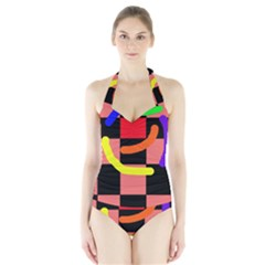 Multicolor Abstraction Halter Swimsuit by Valentinaart