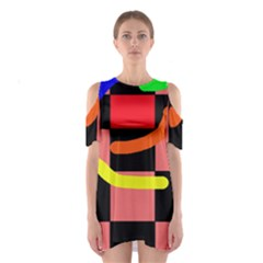 Multicolor Abstraction Cutout Shoulder Dress by Valentinaart