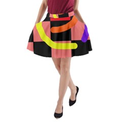 Multicolor Abstraction A Line Pocket Skirt by Valentinaart