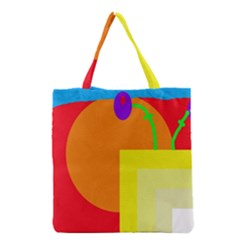 Colorful Abstraction Grocery Tote Bag by Valentinaart