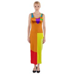 Colorful Abstraction Fitted Maxi Dress by Valentinaart