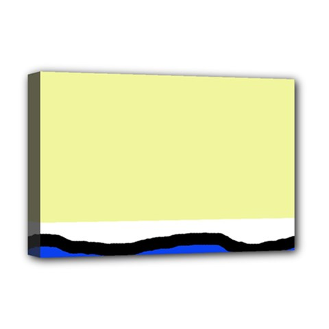 Yellow And Blue Simple Design Deluxe Canvas 18  X 12   by Valentinaart