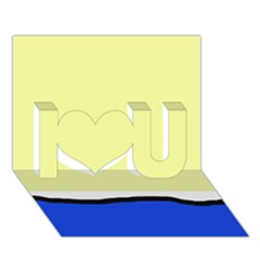 Yellow And Blue Simple Design I Love You 3d Greeting Card (7x5)
