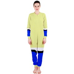 Yellow And Blue Simple Design Onepiece Jumpsuit (ladies)  by Valentinaart