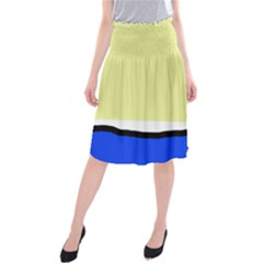 Yellow And Blue Simple Design Midi Beach Skirt by Valentinaart