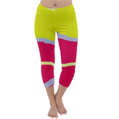 Red And Yellow Design Capri Winter Leggings