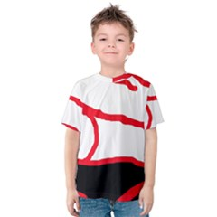 Red, Black And White Design Kid s Cotton Tee by Valentinaart