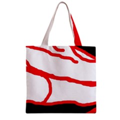 Red, Black And White Design Zipper Grocery Tote Bag by Valentinaart