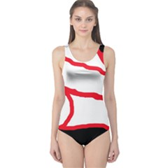 Red, Black And White Design One Piece Swimsuit by Valentinaart