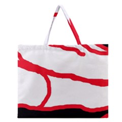 Red, Black And White Design Zipper Large Tote Bag