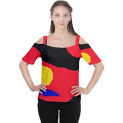 Colorful Abstraction Women s Cutout Shoulder Tee by Valentinaart