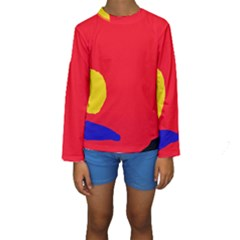 Colorful Abstraction Kid s Long Sleeve Swimwear by Valentinaart