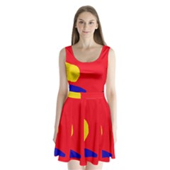 Colorful Abstraction Split Back Mini Dress  by Valentinaart