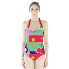 Optimistic Abstraction Halter Swimsuit by Valentinaart