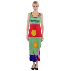 Optimistic Abstraction Fitted Maxi Dress